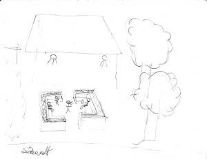 "sketch of people sitting in an ""outdoor classroom"""